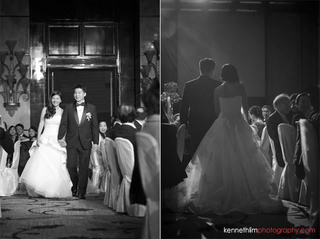 Hong Kong wedding Four Seasons banquet bride and groom walking in hand in hand
