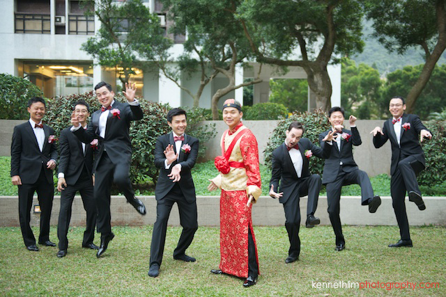 Hong Kong wedding morning groom and groomsmen portrait session goofing around