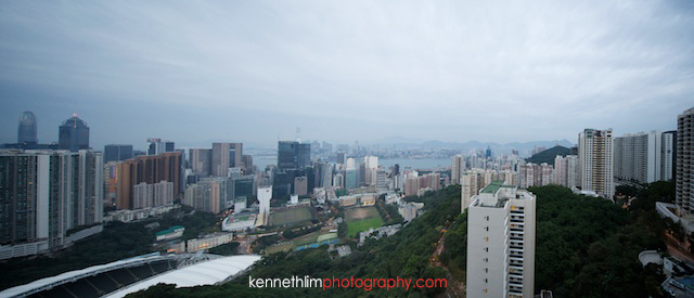 Hong Kong wedding morning preparations view from apartment