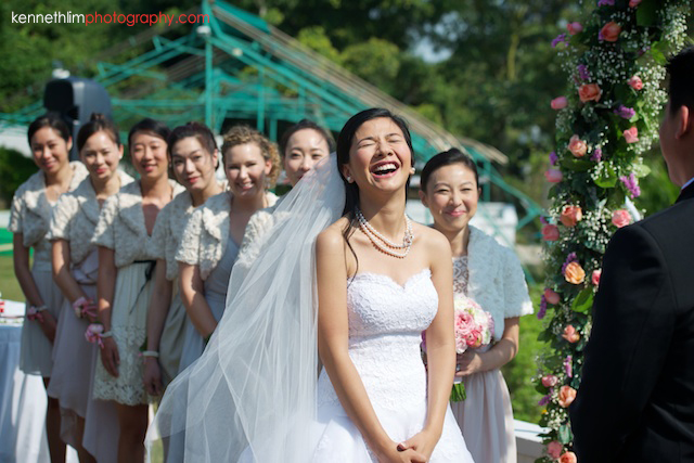 Hong Kong wedding Shek O Golf and Country Club ceremony bride laughing