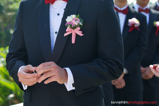 Hong Kong wedding Shek O Golf and Country Club ceremony groom holding onto wedding ring