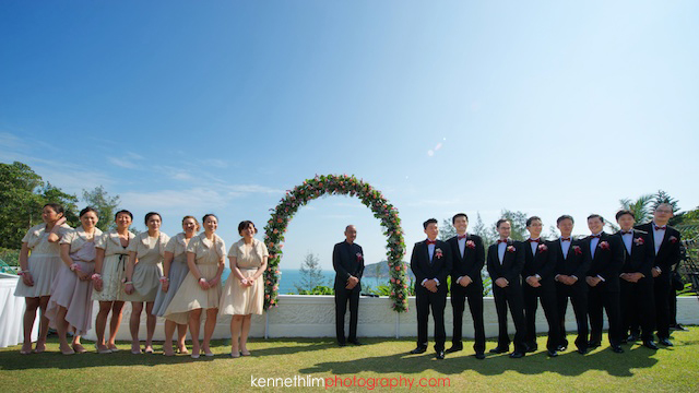 Hong Kong wedding Shek O Golf and Country Club morning bridesmaids and groomsmen waiting for ceremony to begin