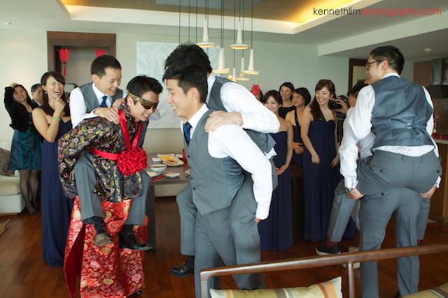 Koh Samui wedding Shasa Resort groom and groomsmen piggyback rides