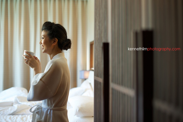 Koh Samui wedding Shasa Resort morning preparations bride drinking coffee bathrobe laughing