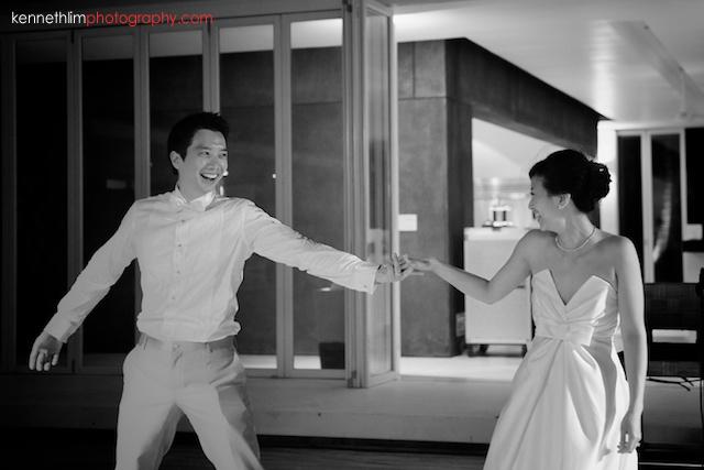Koh Samui wedding YL Residence bride and groom dancing together