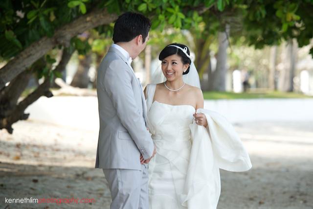 Koh Samui wedding YL Residence bride and groom first look on the beach bride seeing groom