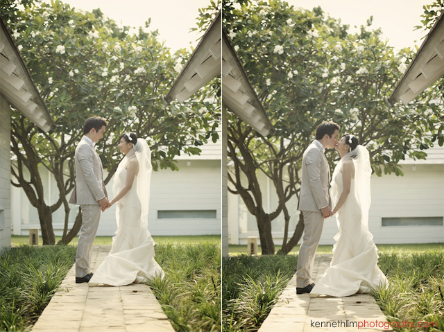 Koh Samui wedding YL Residence bride and groom outdoor portrait session holding hands