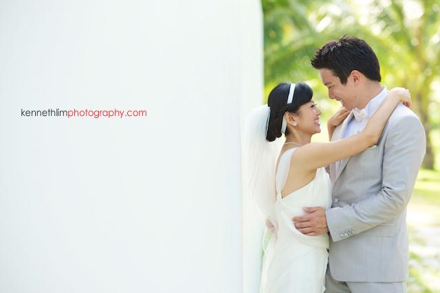 Koh Samui wedding YL Residence bride and groom portrait hugging and smiling