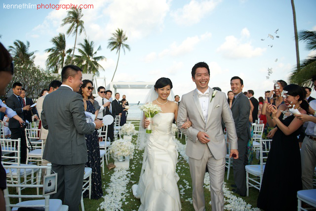 Koh Samui wedding YL Residence bride and groom walk off just married smiling