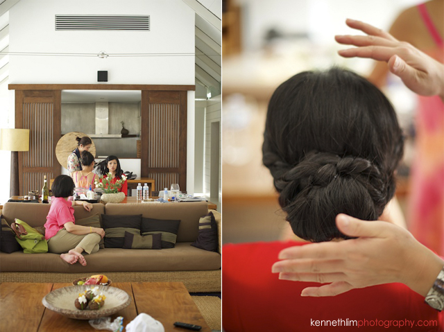Koh-Samui wedding YL Residence bride getting ready with hair while talking to bridesmaids
