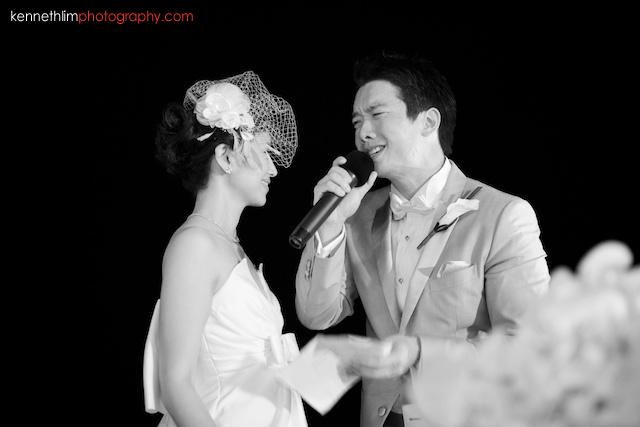 Koh Samui wedding YL Residence dinner banquet groom emotional speech to bride