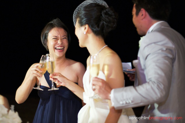 Koh Samui wedding YL Residence maid of honor toasting after speech