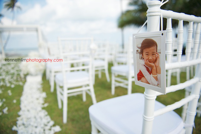 Koh Samui wedding YL Residence outdoor decorations chair with bride child photo