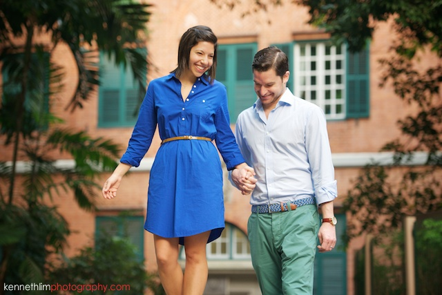 Hong Kong engagement photoshoot outdoors fiancee holding hands guiding