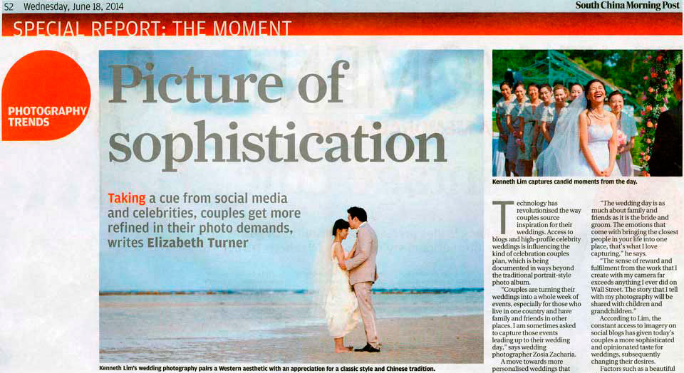 SCMP article on Hong Kong Wedding Photographer Kenneth Lim