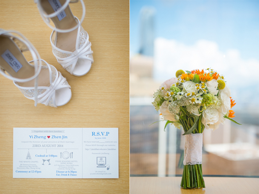 Hong Kong  Wedding Photography Discovery Bay Auberge White Chapel Wedding Invite Flowers for Bride