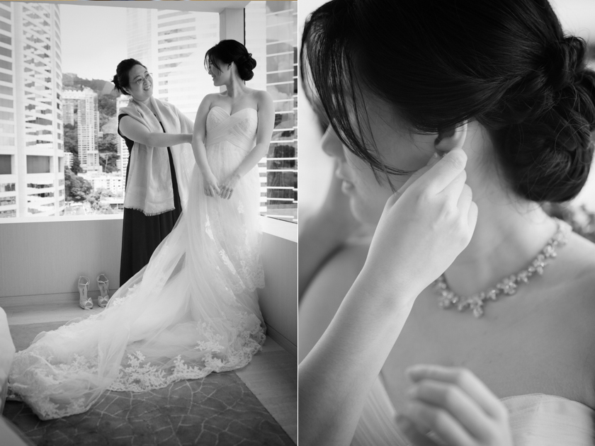 Hong Kong Wedding Photography Discovery Bay Auberge White Chapel bride getting ready with mother