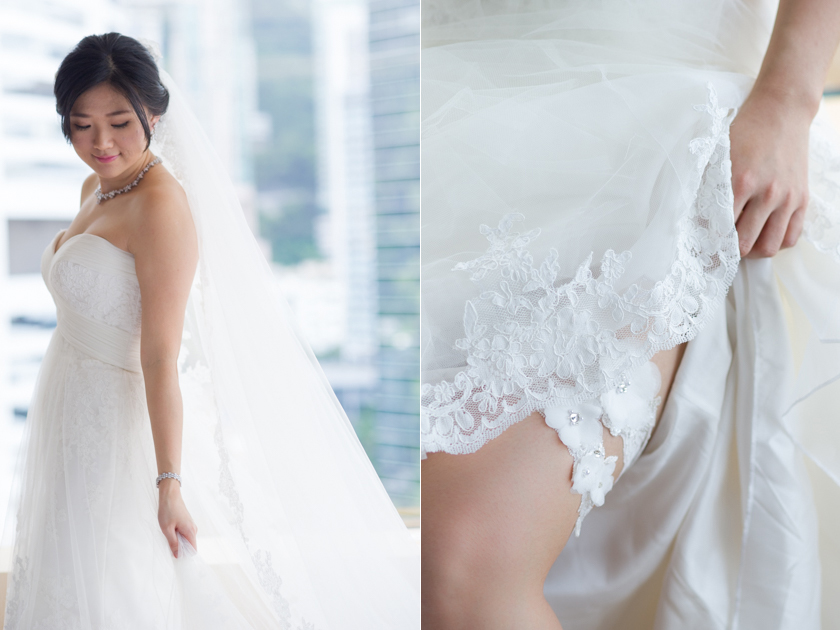 Hong Kong Wedding Photography Discovery Bay Auberge White Chapel bride in dress looking down smiling