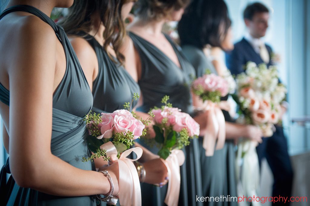 Hong Kong wedding photography wedding ceremony IFC Cuisine Cuisine Central bridesmaids holding bouquet of flowers