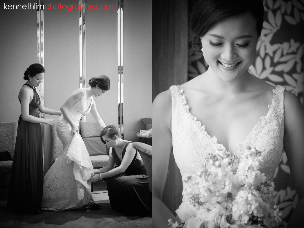 Hong Kong wedding photography big day morning bride putting on wedding gown with bridesmaids help