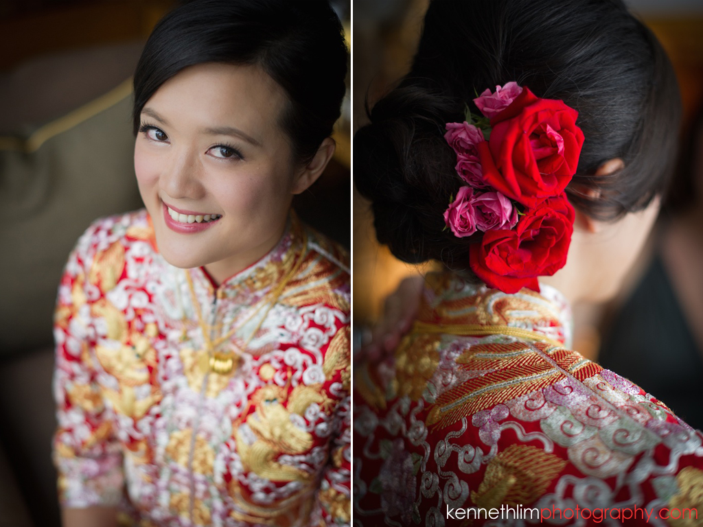 Hong Kong wedding photography big day morning bride getting ready with traditional chinese wedding dress