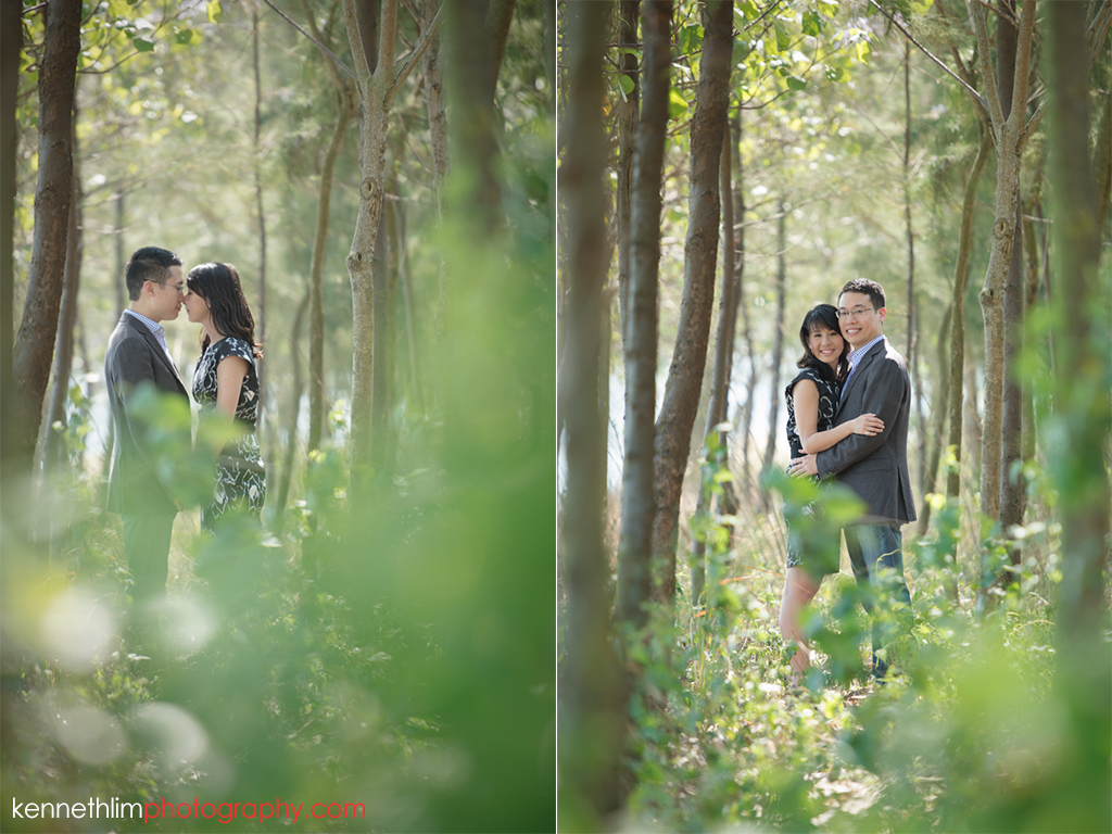 Hong Kong Pre wedding photography Peng Chau Island outdoor portrait session couple in green trees hugging together