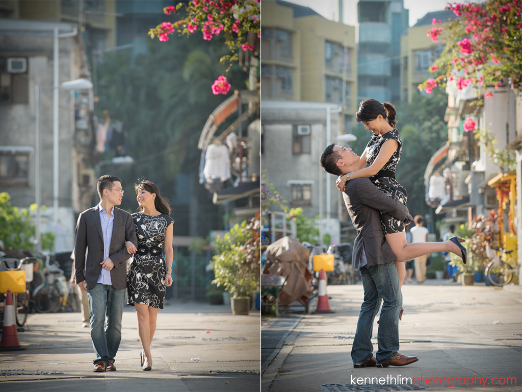 Hong Kong Pre wedding photography Peng Chau Island outdoor portrait session couple walking together holding hands smiling