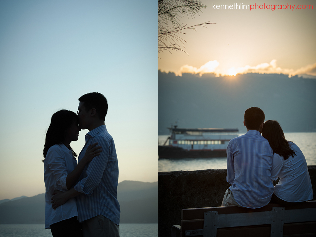 Hong Kong Pre wedding photography Peng Chau Island outdoor portrait session couple watching sunset together