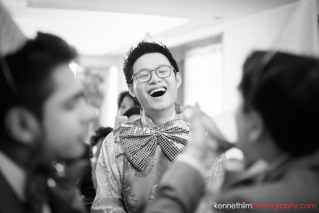 Hong Kong Wedding photography one photography thirty one morning games groom laughing with groomsmen