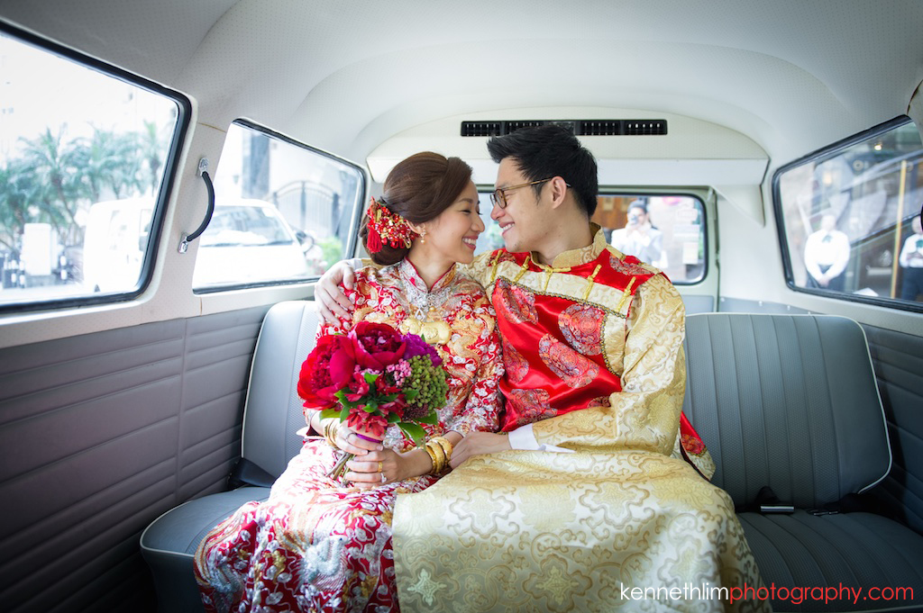 Hong Kong Wedding photography one thirty one bride groom kissing in car