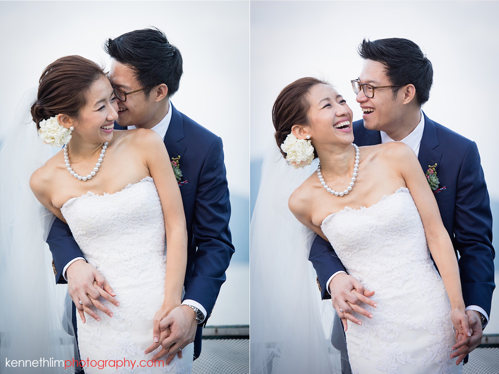 Hong Kong Wedding photography one thirty one bride groom portrait session groom hugging from back