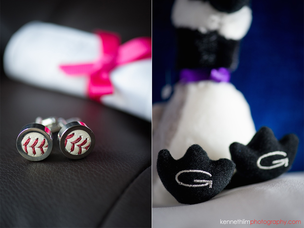 NYC Gansevoort Hotel wedding day photography groom cufflinks stuffed animal