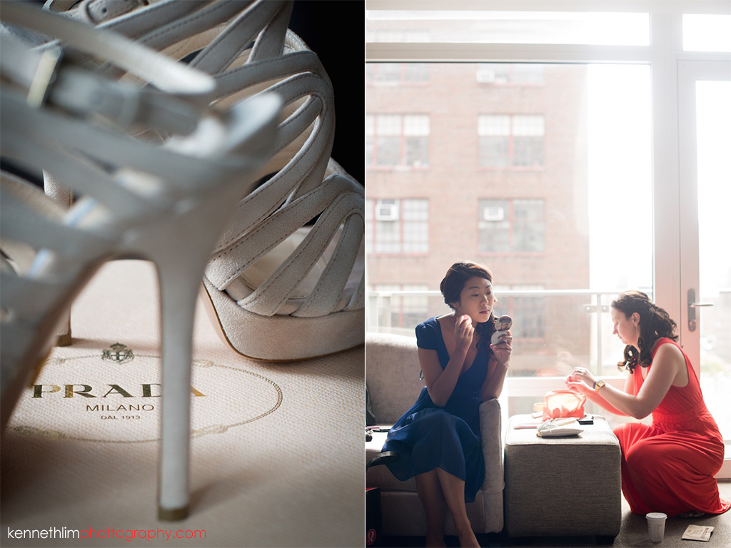 NYC Gansevoort Hotel wedding day photography bridesmaids getting ready bride wedding day shoes