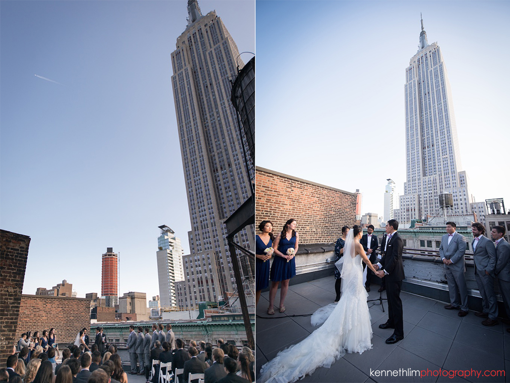 New York City Garys Loft wedding day photography outdoor rooftop ceremony Empire State Building background