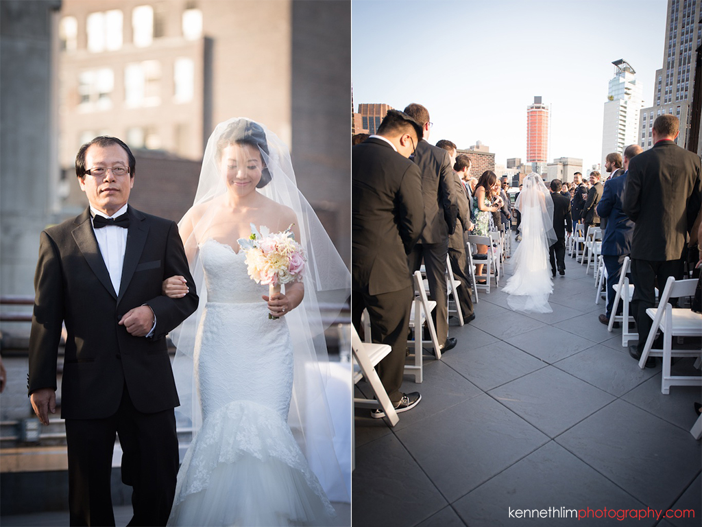 New York City Garys Loft wedding day photography ceremony bride and father of bride marching in