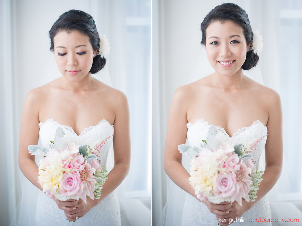 New York City Garys Loft wedding day photography bride portrait session smiling with flowers
