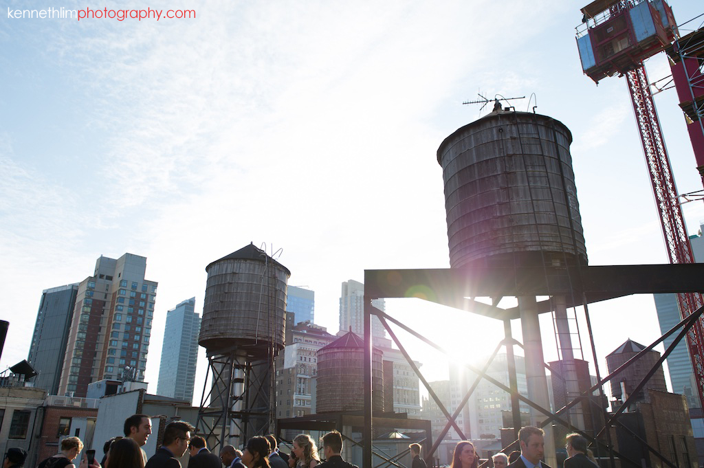 New York City Garys Loft wedding day photography outdoor rooftop wedding sunset golden hour
