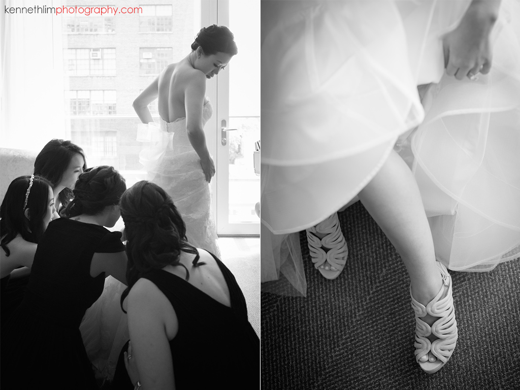 NYC Gansevoort Hotel wedding day photography bride putting on wedding gown and wedding shoes with bridesmaids