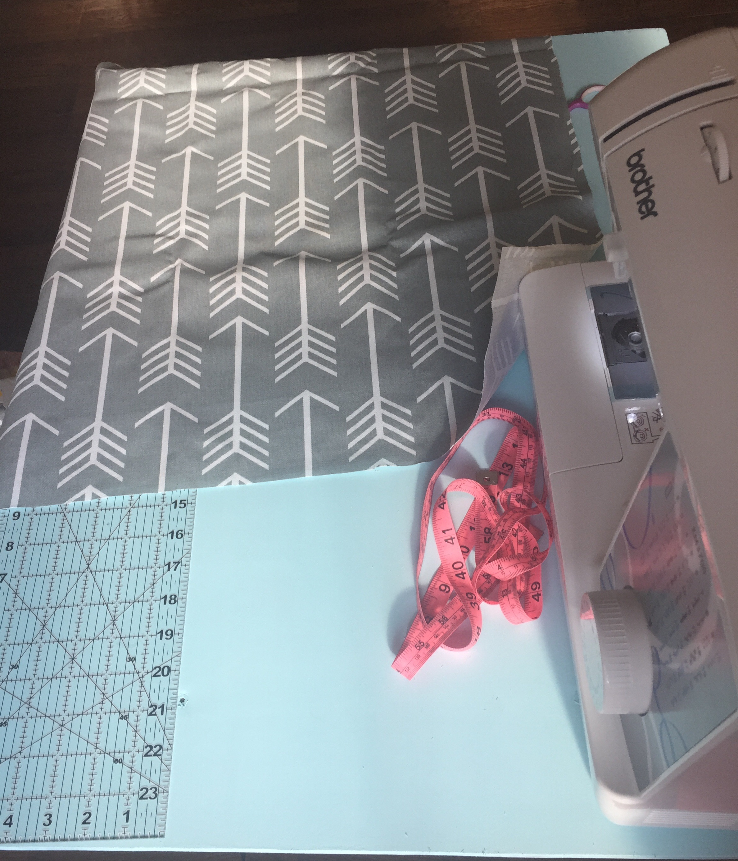 Start by cutting one piece of fabric to your desired size. (My measurements are 22x22)