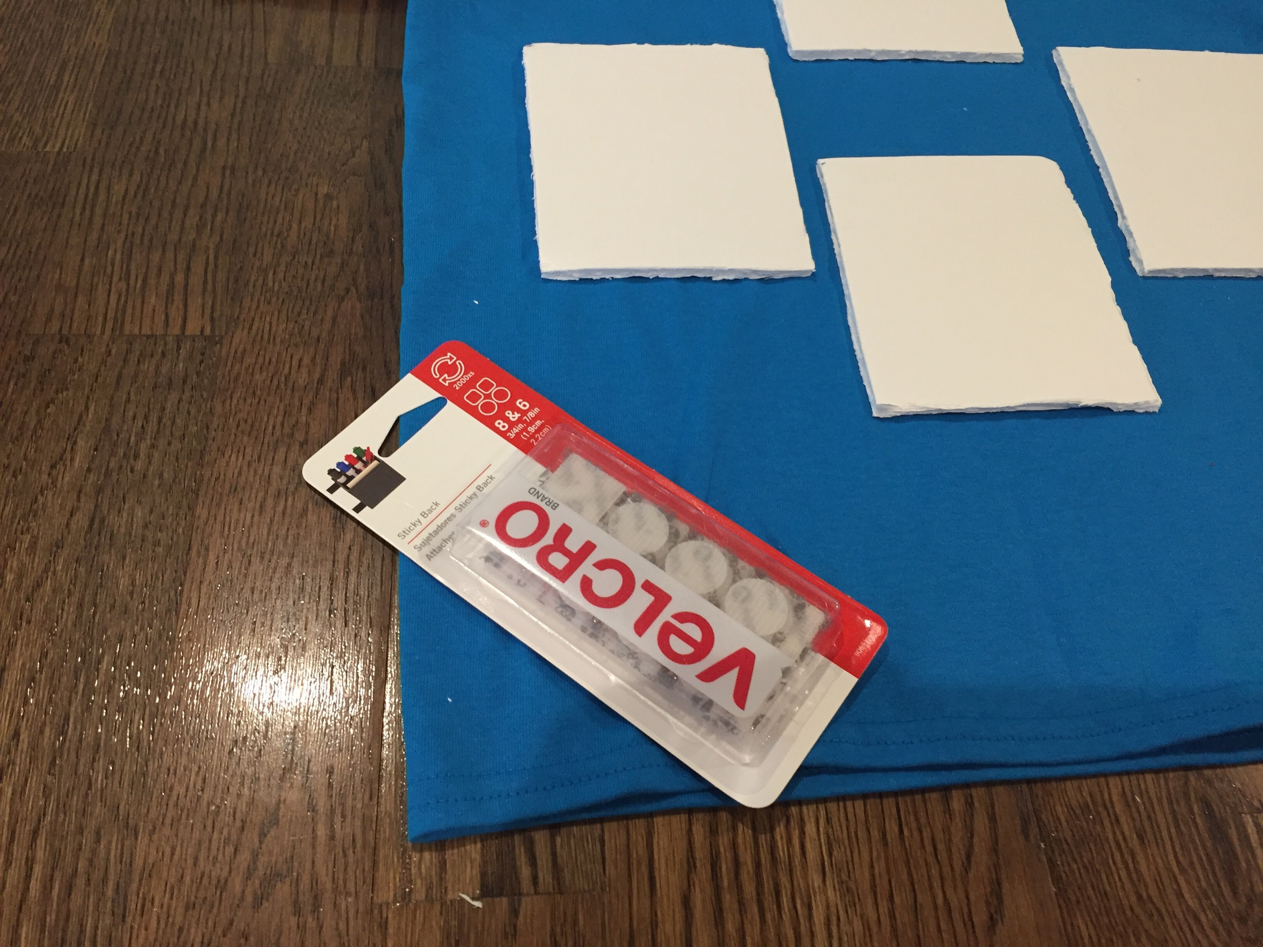 Using Velcro, attach the foam board squares to your tshirt.