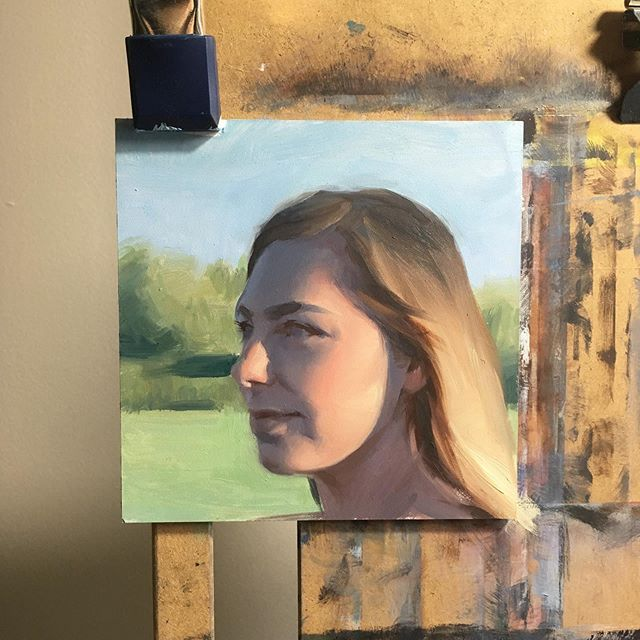 Little oil study of Madison 💩 - #oilpaintingstudy #allaprimaportrait #oilpaintingportrait #paintingoftheday #readytogo