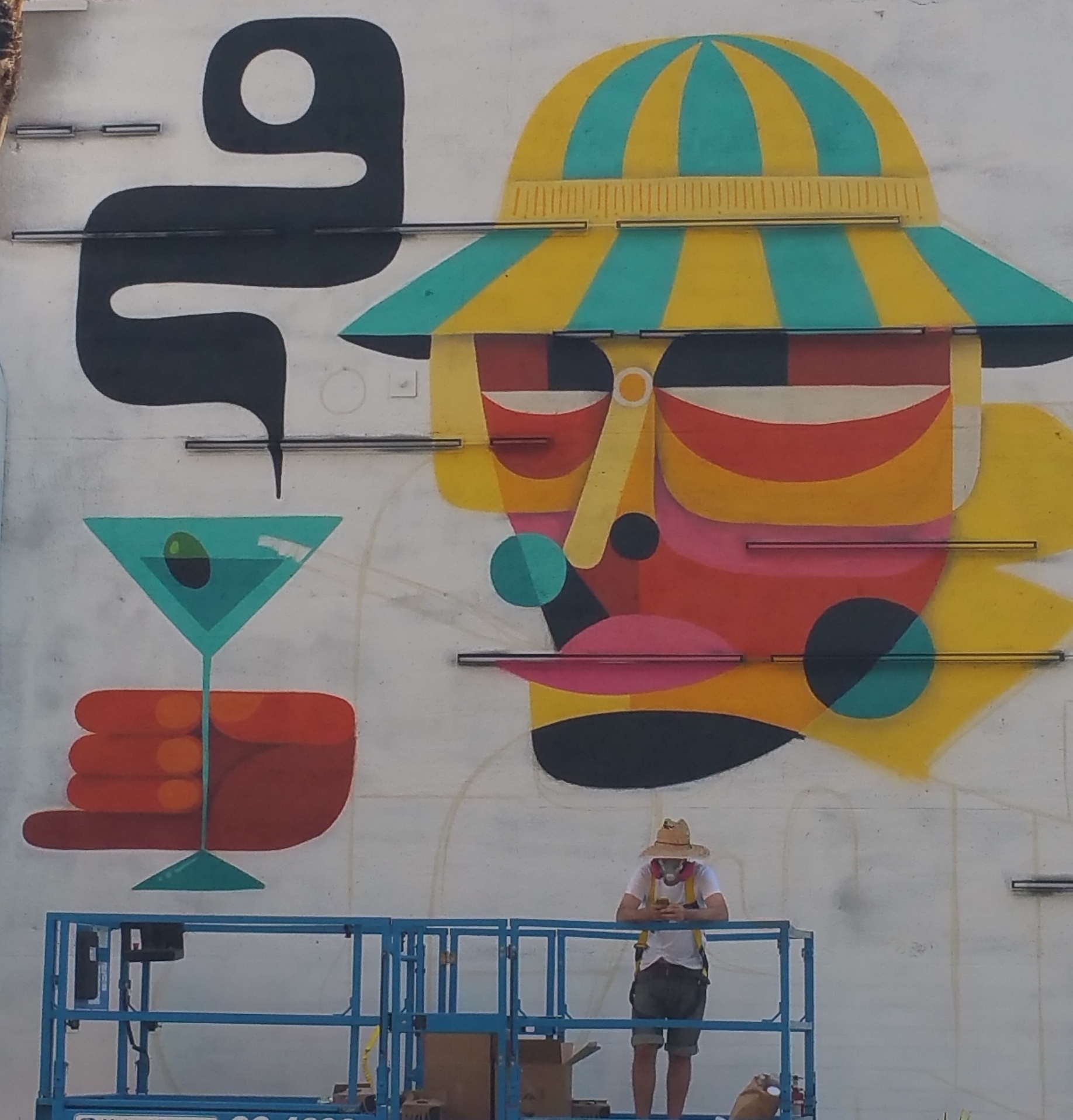 This guy was in the middle of creating the wall art.