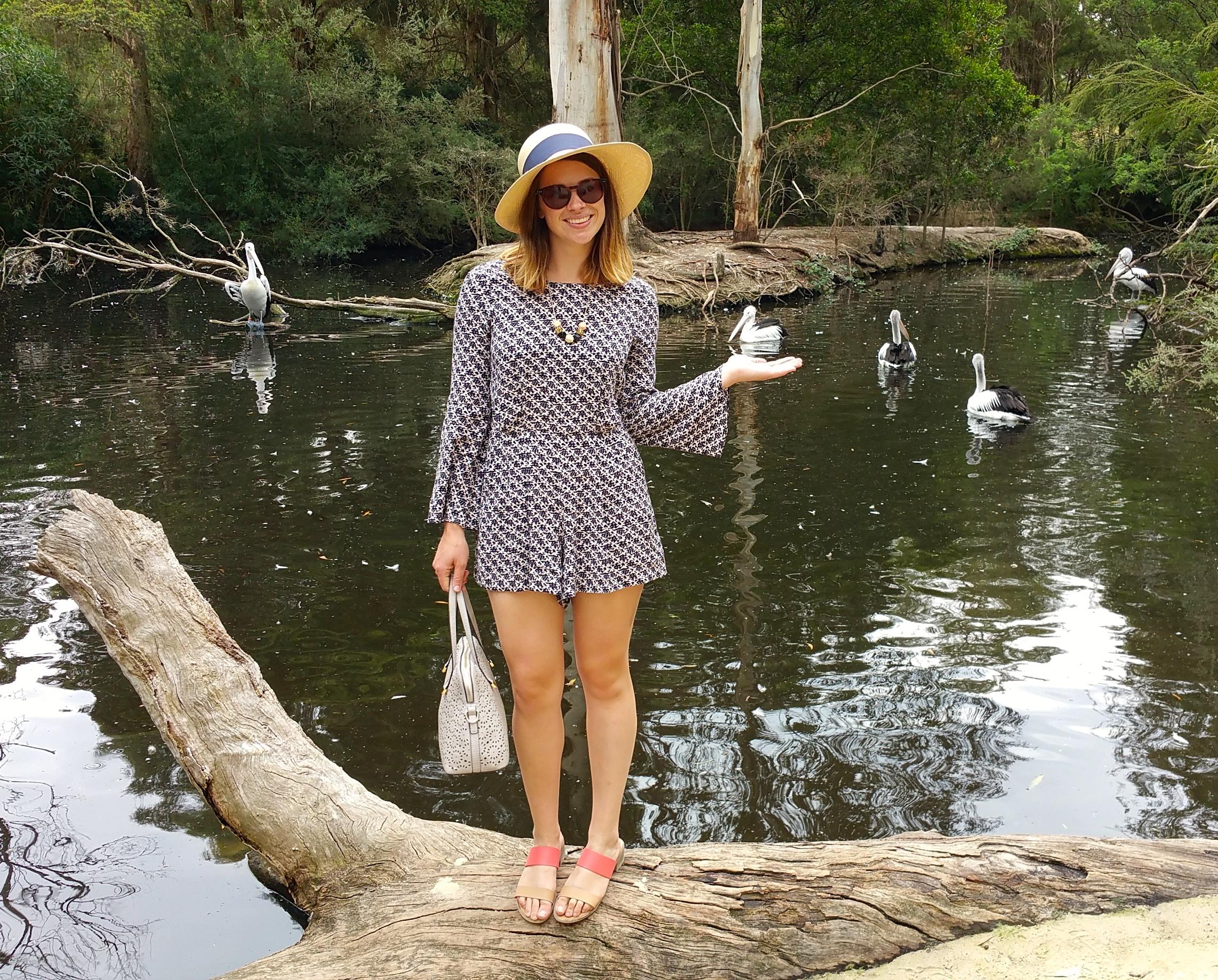 blue-playsuit-pond-pink-sandels-straw-hat
