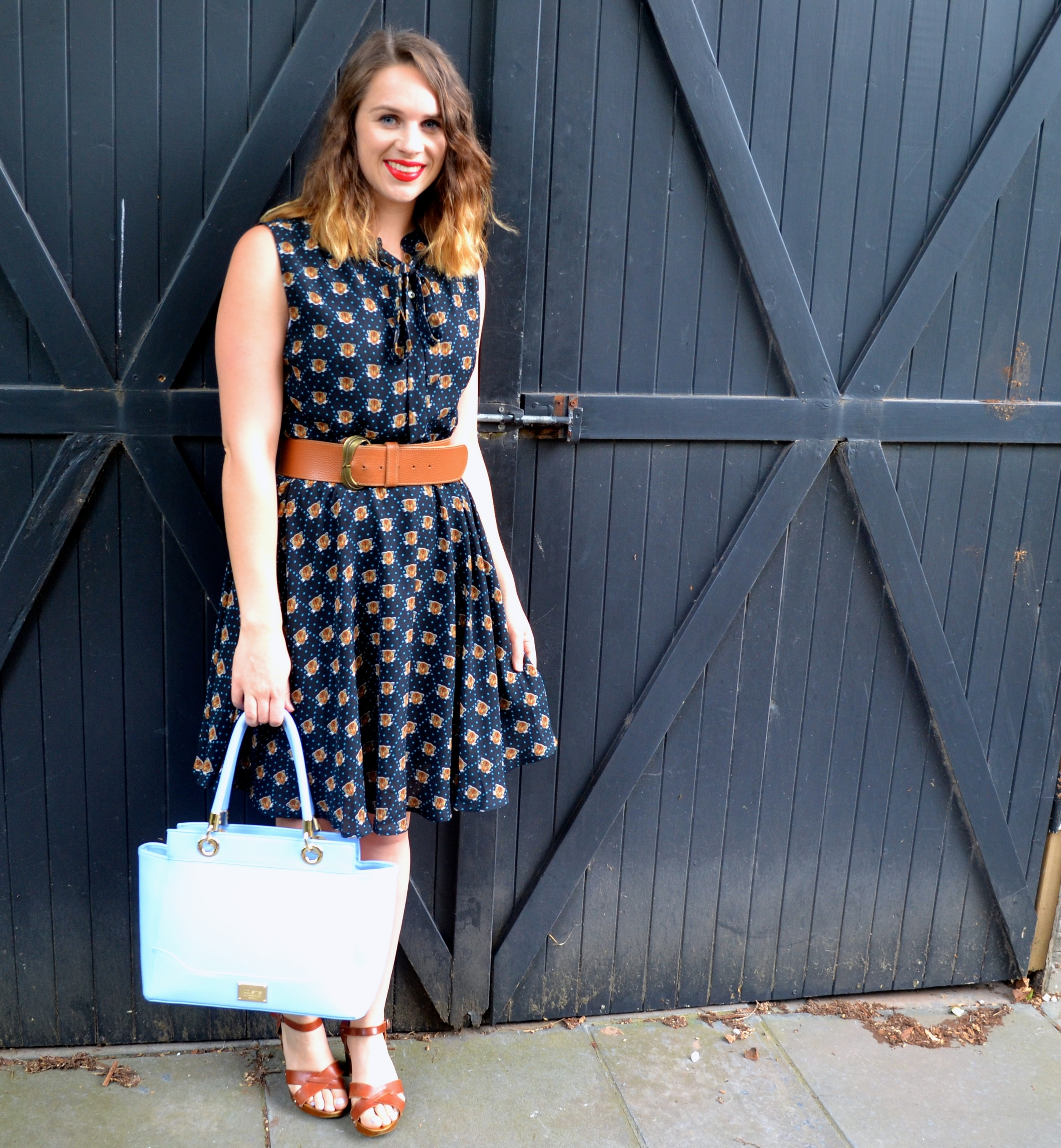 blue-bag-brown-fox-dress