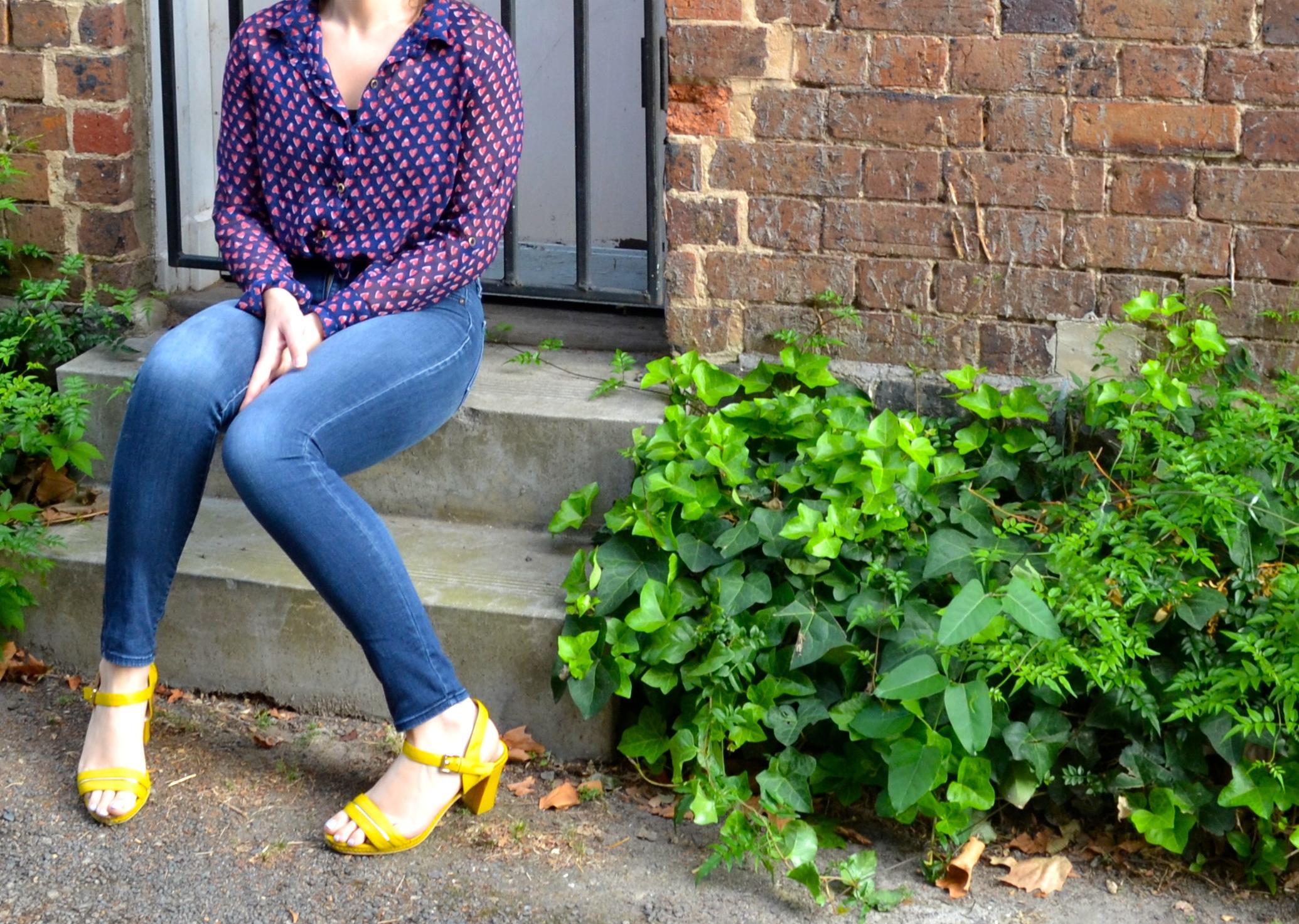 yellow-heels-brick-step-jeans-purple-heart-blouse