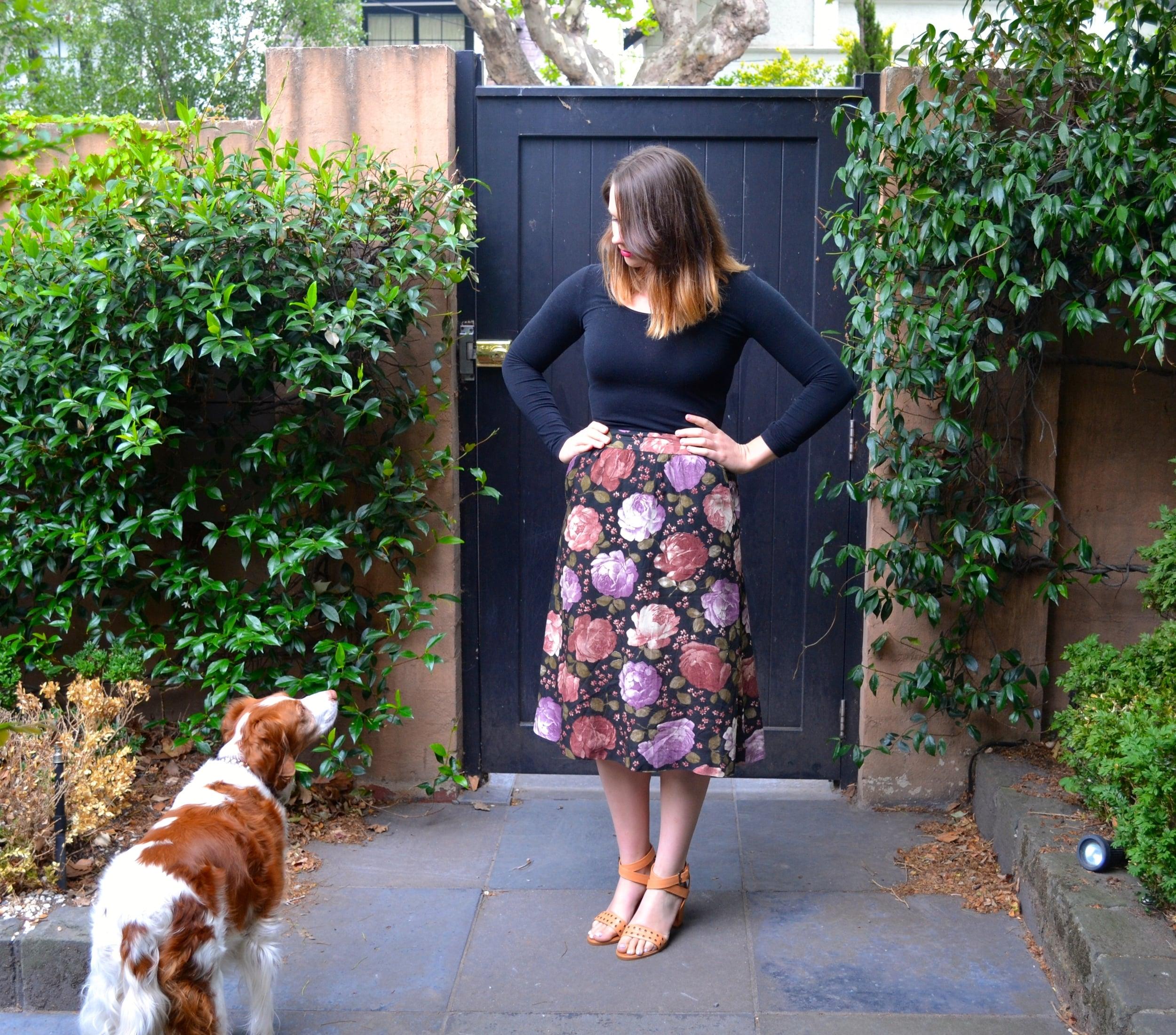 floral-skirt-rmk-heels-dog