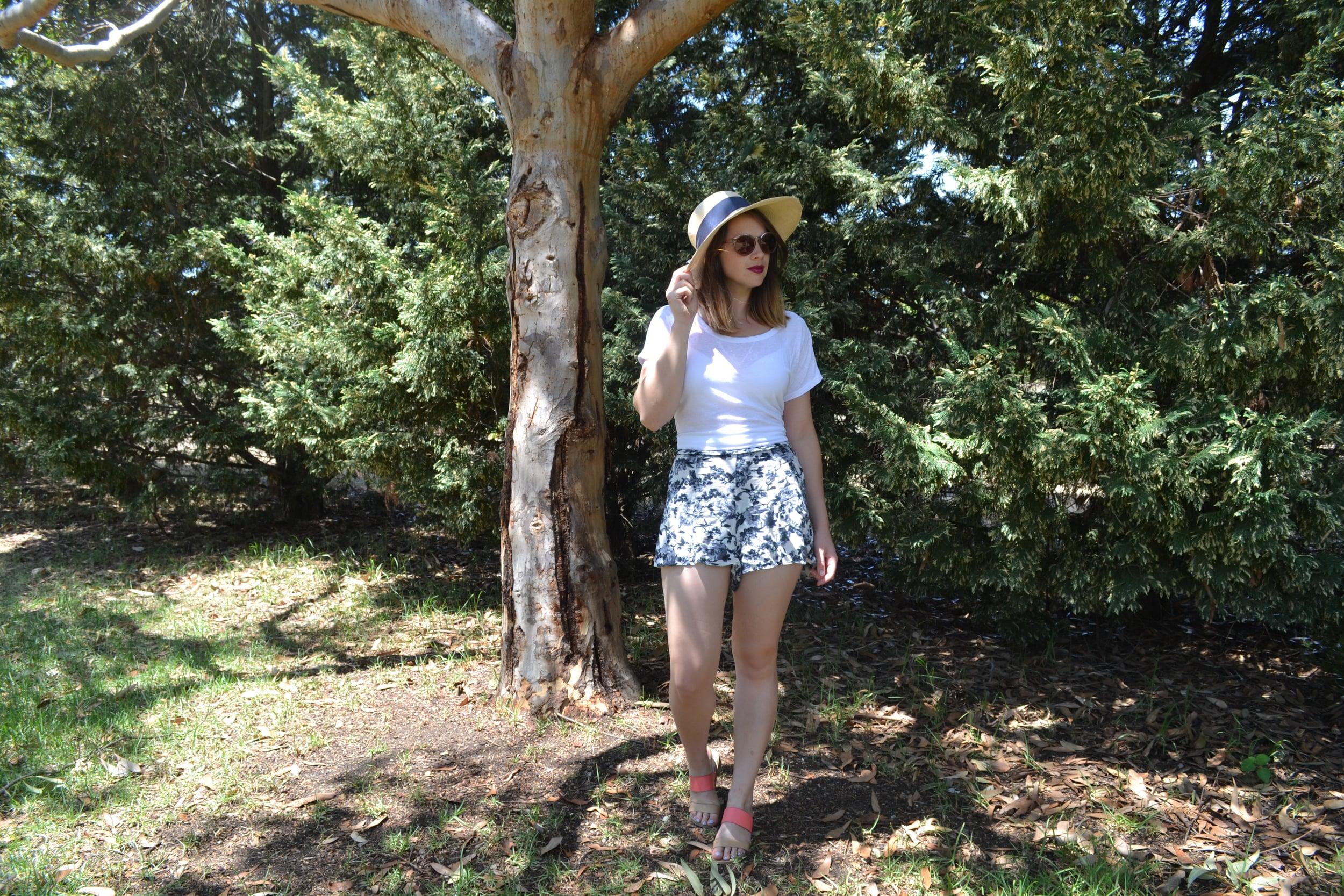floral-shorts-summer-hat-colored-sandals-bonlook-forest