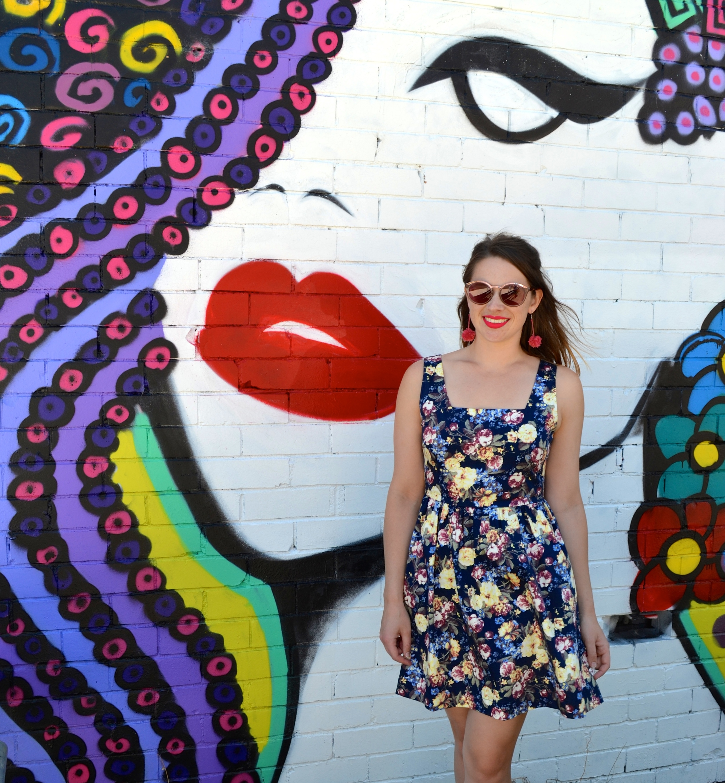 pom-pom-earrings-lady-graffiti-floral-dress