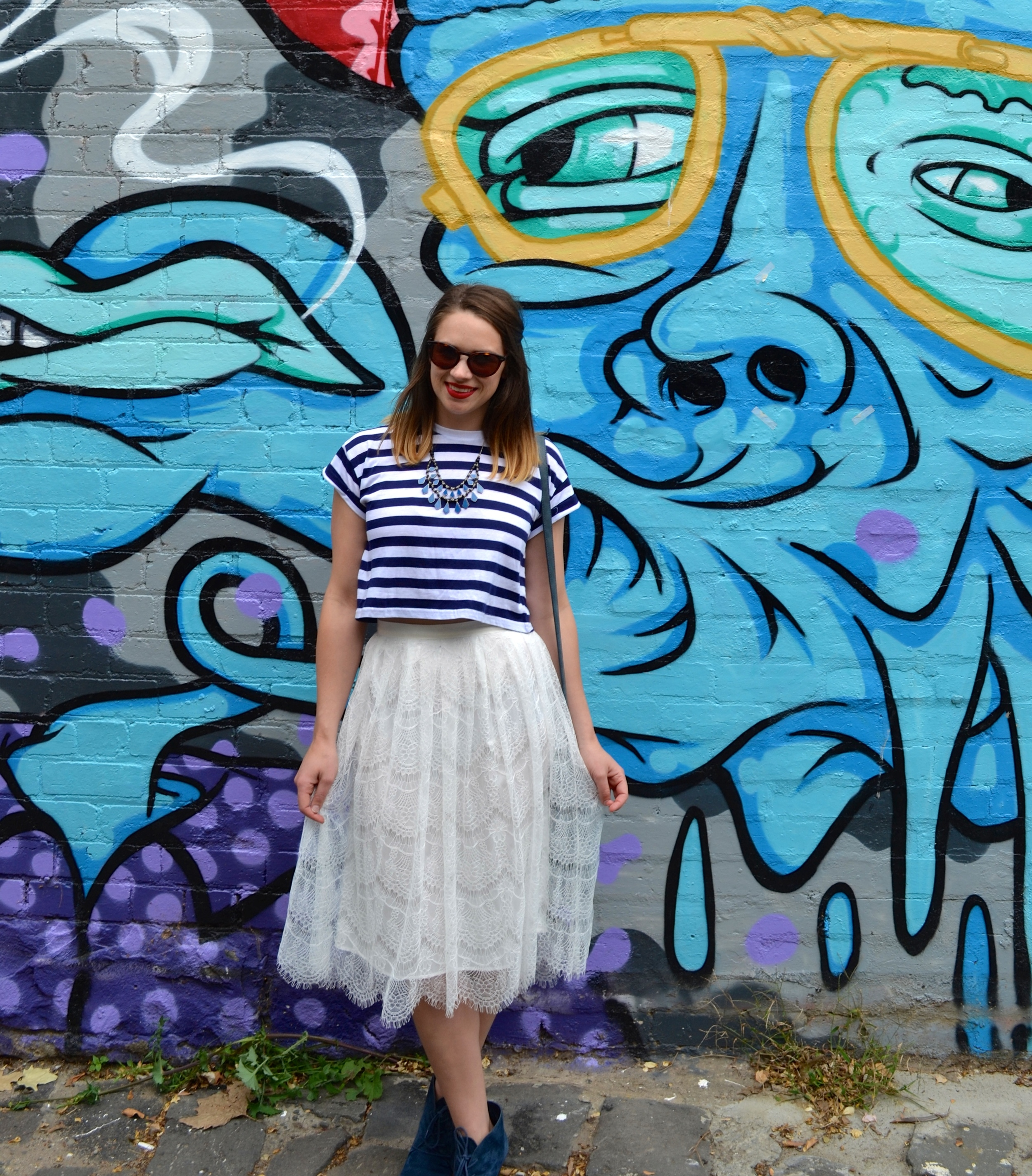 lace-midi-skirt-blue-stripped-top-blue-chain-necklace-graffiti-melbourne