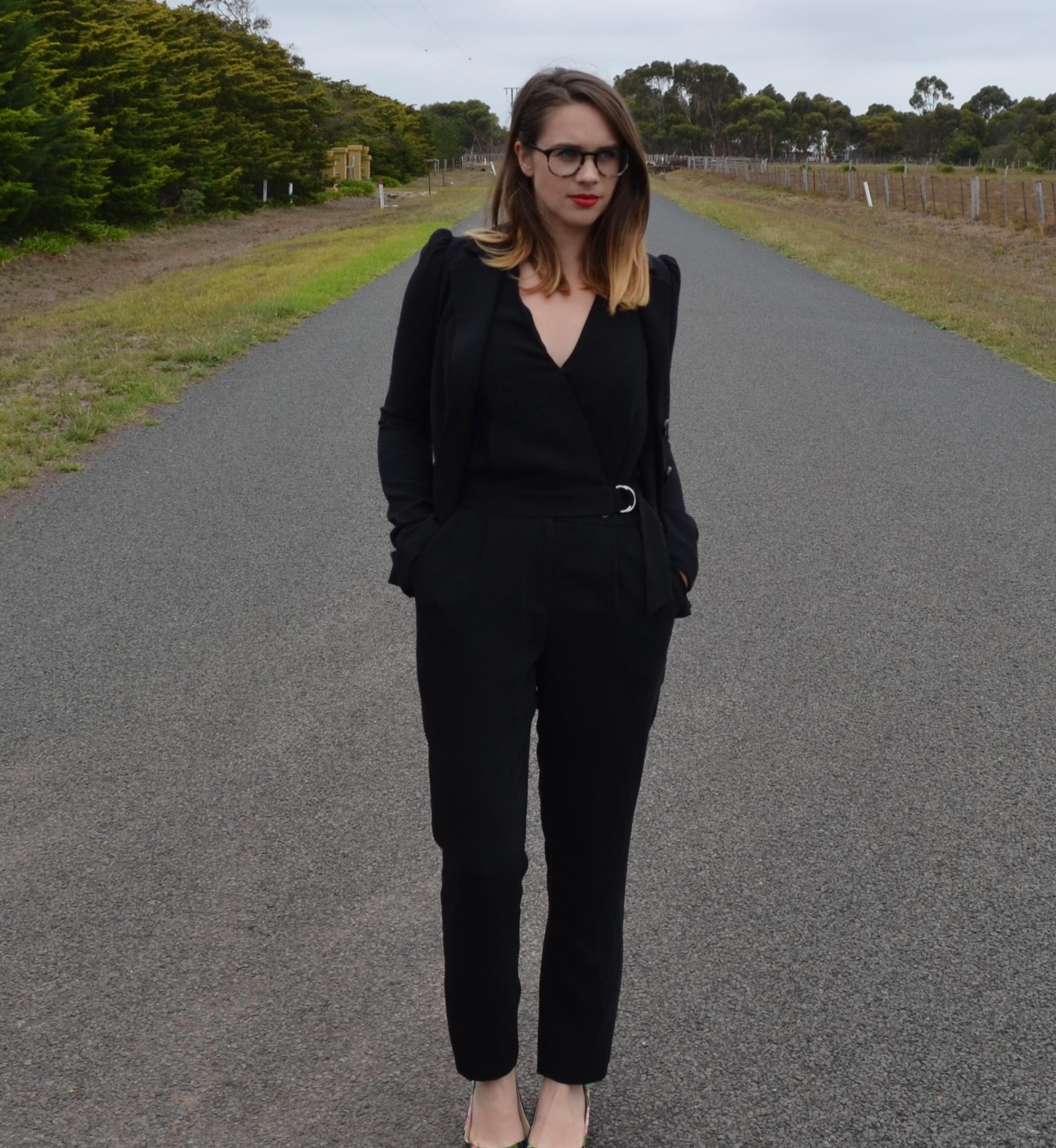 black-jumpsuit-sportgirl-betsy-johnson-blazer